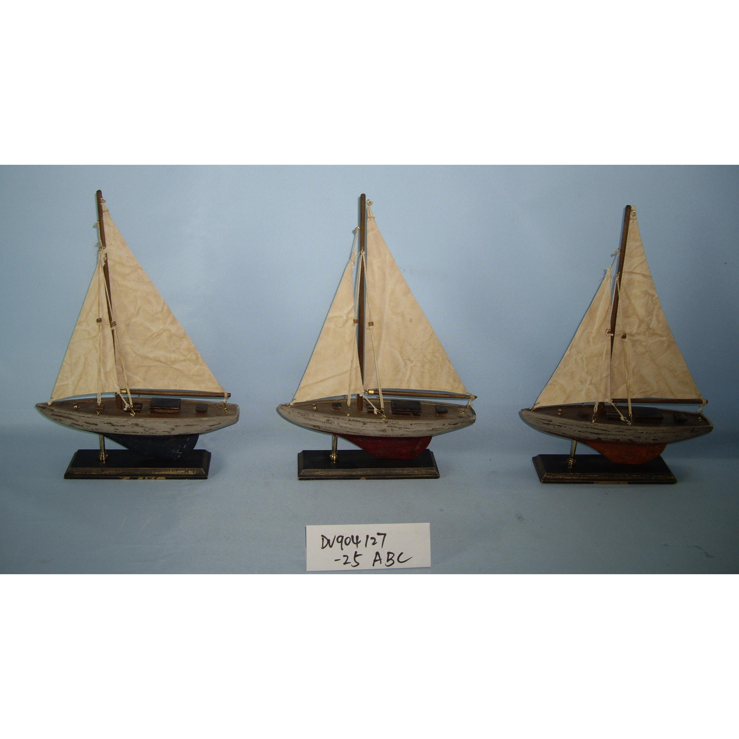 Set 3 Wooden Boat Model,25x6x34cm Small Sailboat Model,Single Mast Sail  Yacht Model - Buy Old Ship Model,Wooden Model Boats,Nautical Boat Product  on