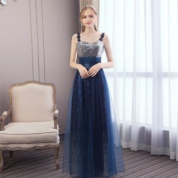 6e0f2cfdbe 2019 New arrival western fashion elegant spaghetti straps wedding cocktail  navy blue sequin evening dress