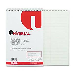 Universal : Steno Book, Pitman Rule, 6 x 9, Green, 60 Sheets/pad -:- Sold as 2 Packs of - 1 - / - Total of 2 Each