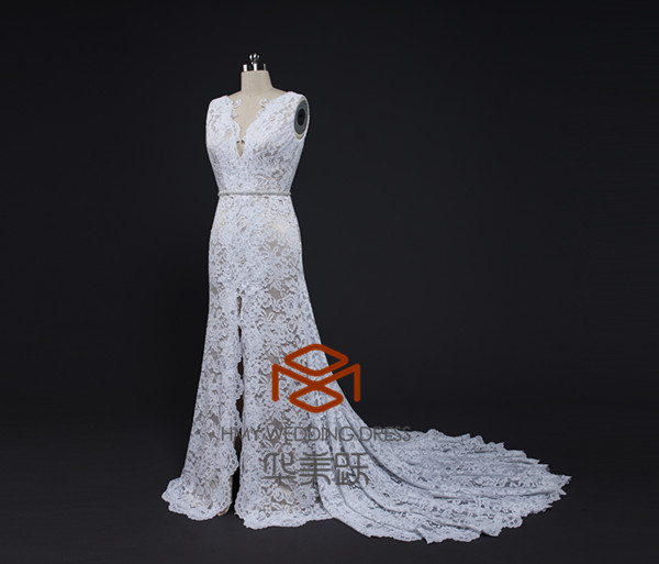 Sexy Open Low Back Lace Wedding Dresses Hmy D557 Floor Length Beaded