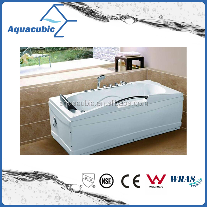 ABS Whirlpool Bathtub in White with Stainless Steel Handle