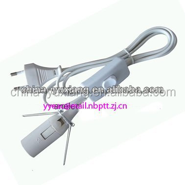 lamp holder+plastic loop+VDE switch H03VVH2-F 2*0.75MM2
