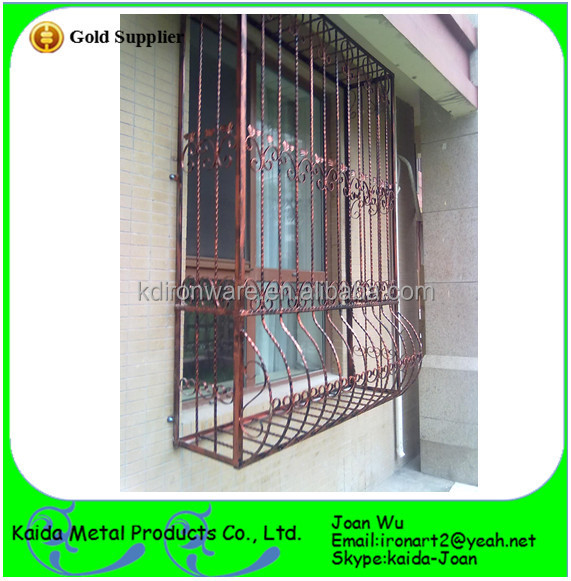 Modern french wrought iron window grills grates designs for Modern zen window grills design