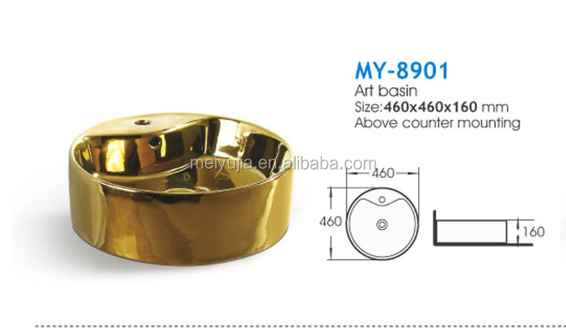 HOT! Middle east style gold bathroom ceramic wash sink
