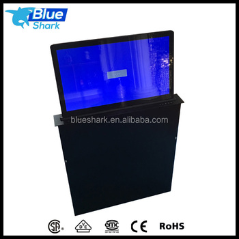 Ultrathin Motorized Pop Up LCD Monitor Lift with Widescreen for Conference ststem