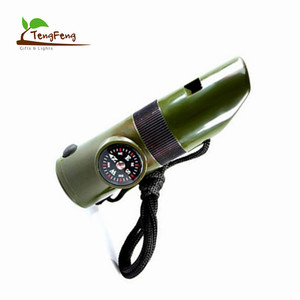 Outdoor Exploration 7 in 1 Plastic Lifesaving Flashlight Whistle Compass Survival Led Emergency Light with Whistle