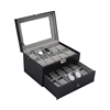 Double Layers Organizer Jewelry Case 20 Slot Leather Watch Box