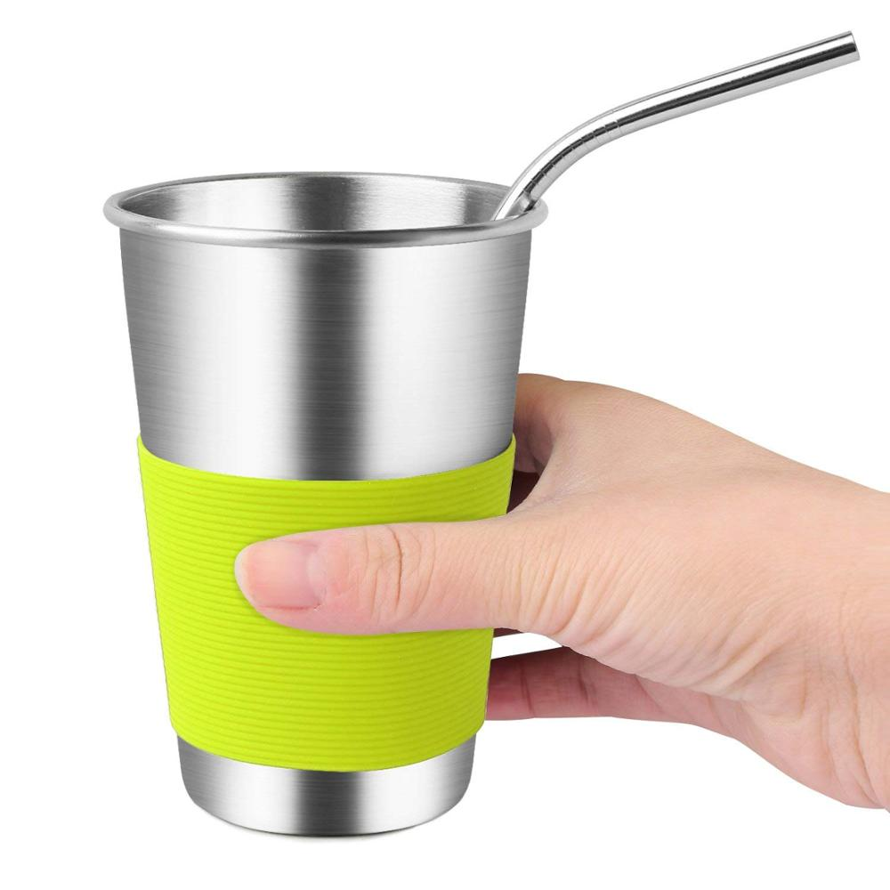 Stainless Steel Drinking Glasses with Straws & Silicone Sleeves,Metal Sippy Cups