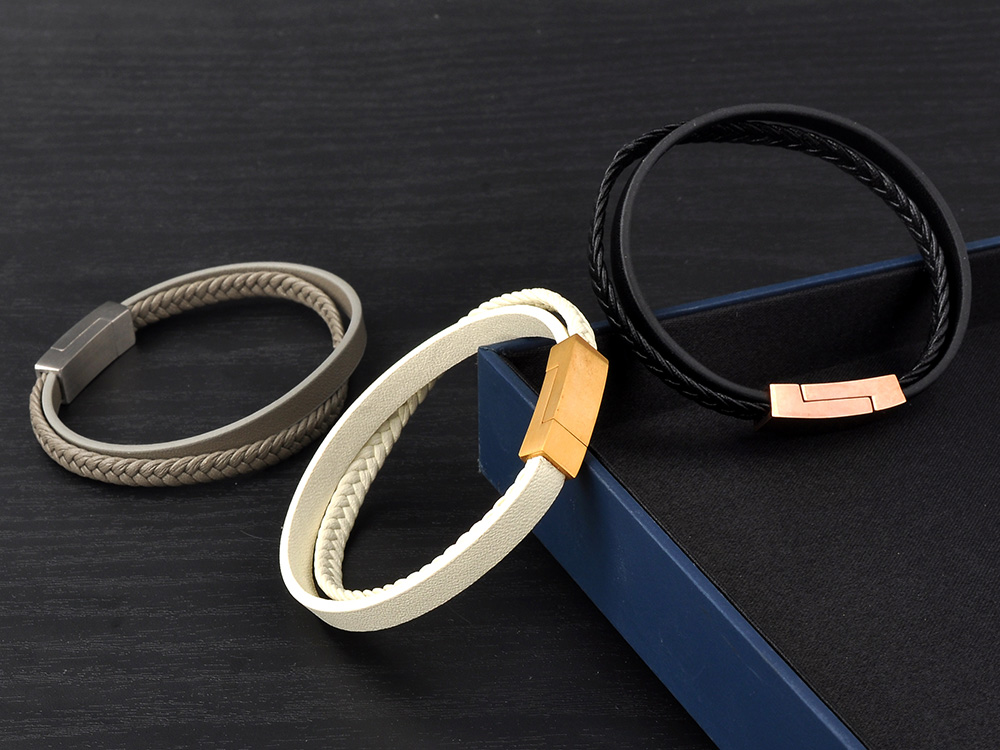 Wholesale Products Men'S Jewelry Braided Leather Wrap Leather Bangle