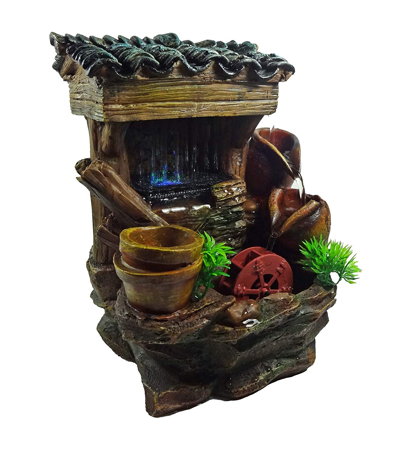 GiftsRDecor Tabletop Fountain Water House With Jars And Watermill