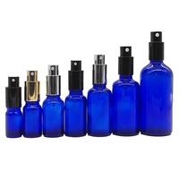 5ml10ml15ml20ml30ml50ml100ml essential oil set custom logo aluminium sprayer blue toner lotion glass bottle with pump