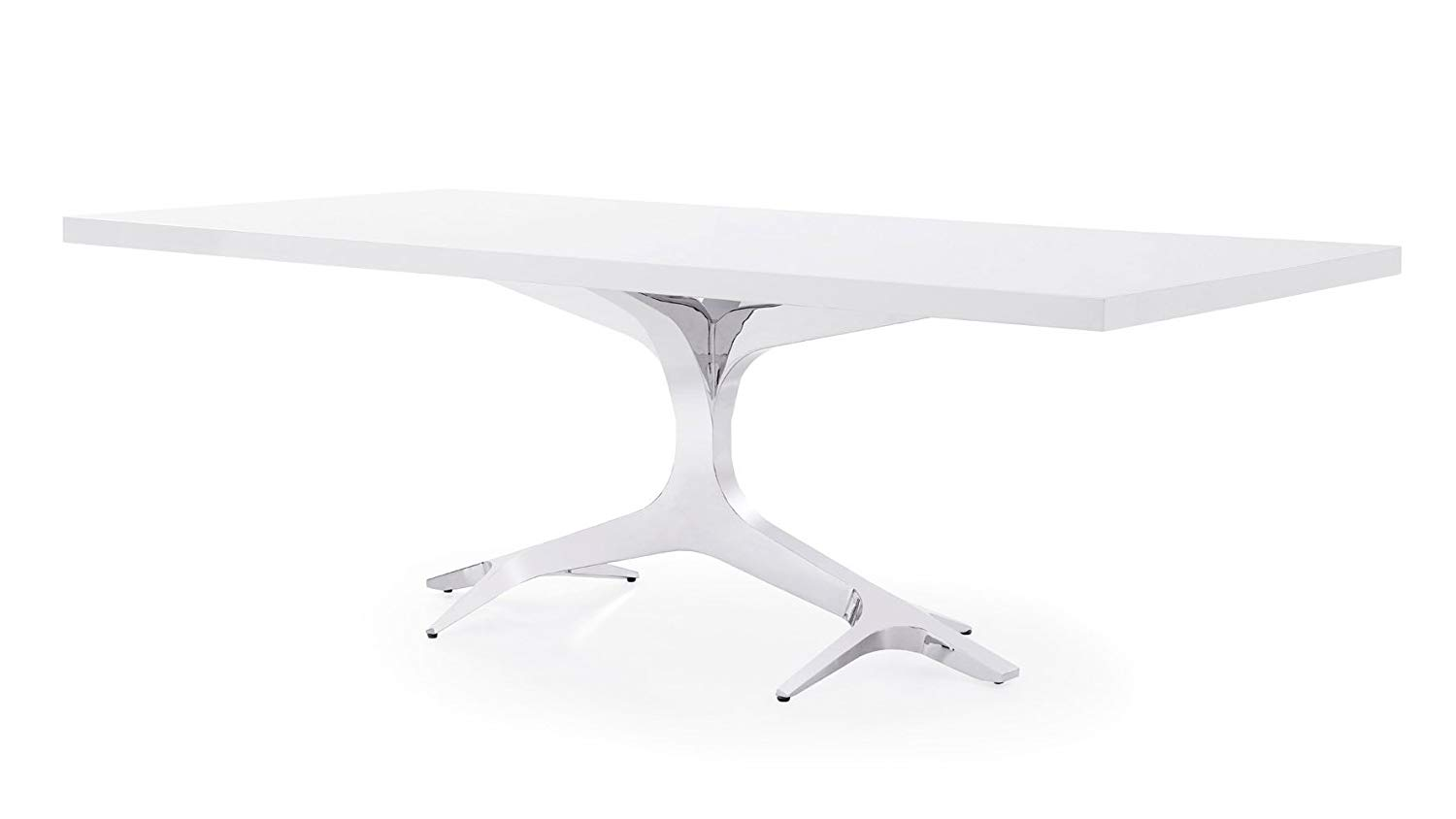 Zuri Furniture Modern Arbre Dining Table in White High Gloss Lacquer Polished Stainless Steel Base