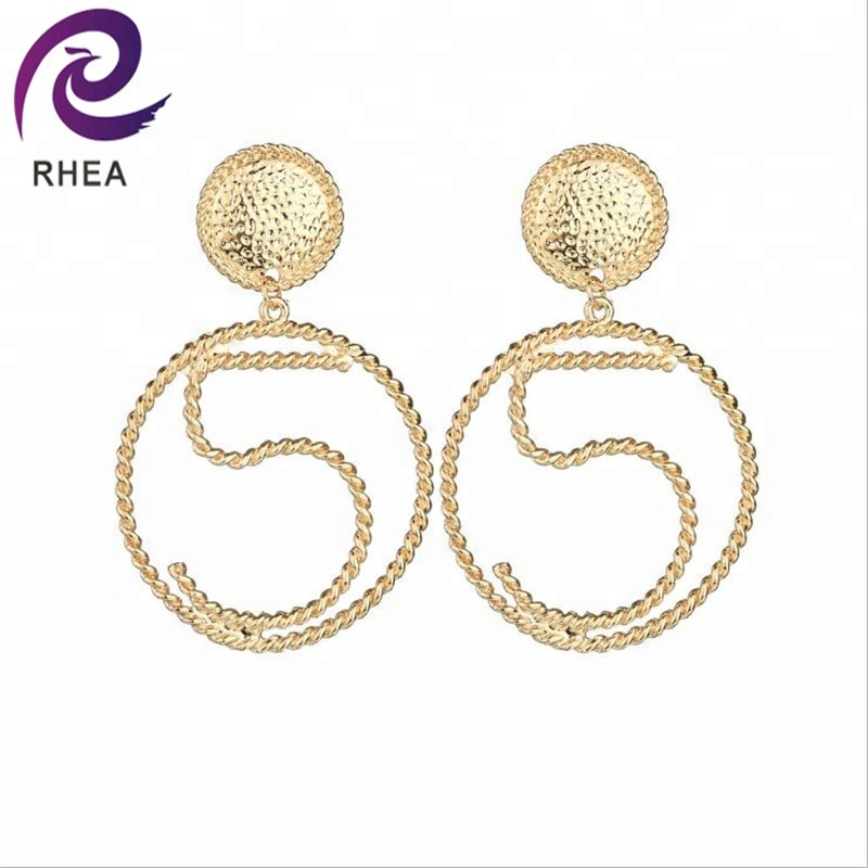 Fashion Big Round Circle Hoop Earrings for Women Geometric Letter 5 Punk Hoops Earring Jewelry Gift