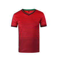 T012 Horizontal Striped Mens World Cup Soccer Jersey T shirt Quick Dry