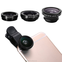 2017 Hot sales Universal Clip 3 in1 Fish eye Micro Wide Angle camera lens for iPhone all Smart Phone,mobile phone lens