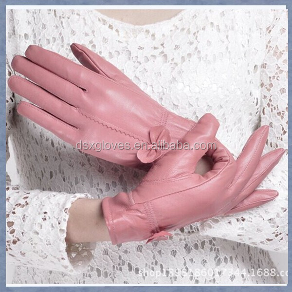 Female Fashional Fake Leather Winter Gloves