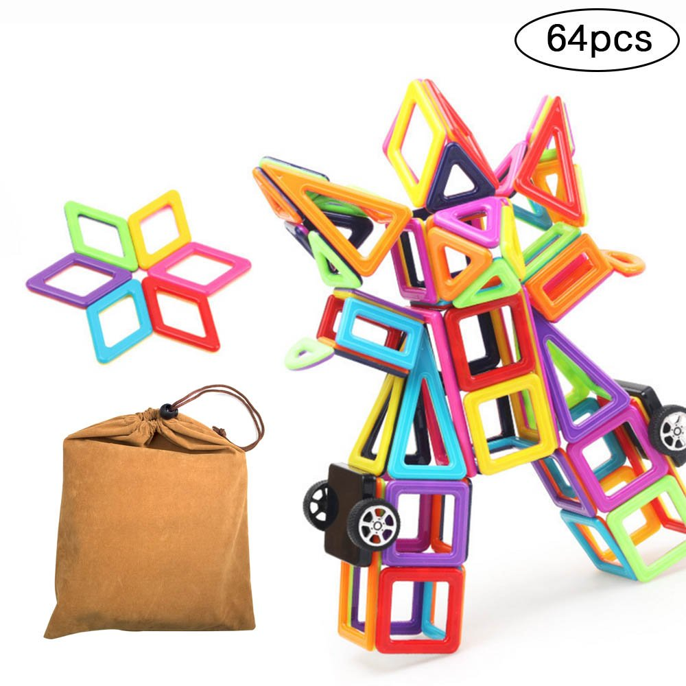 Magnetic Blocks Toy Large Triangle Magnets Building Block Toy Girls/&Boys 64pcs