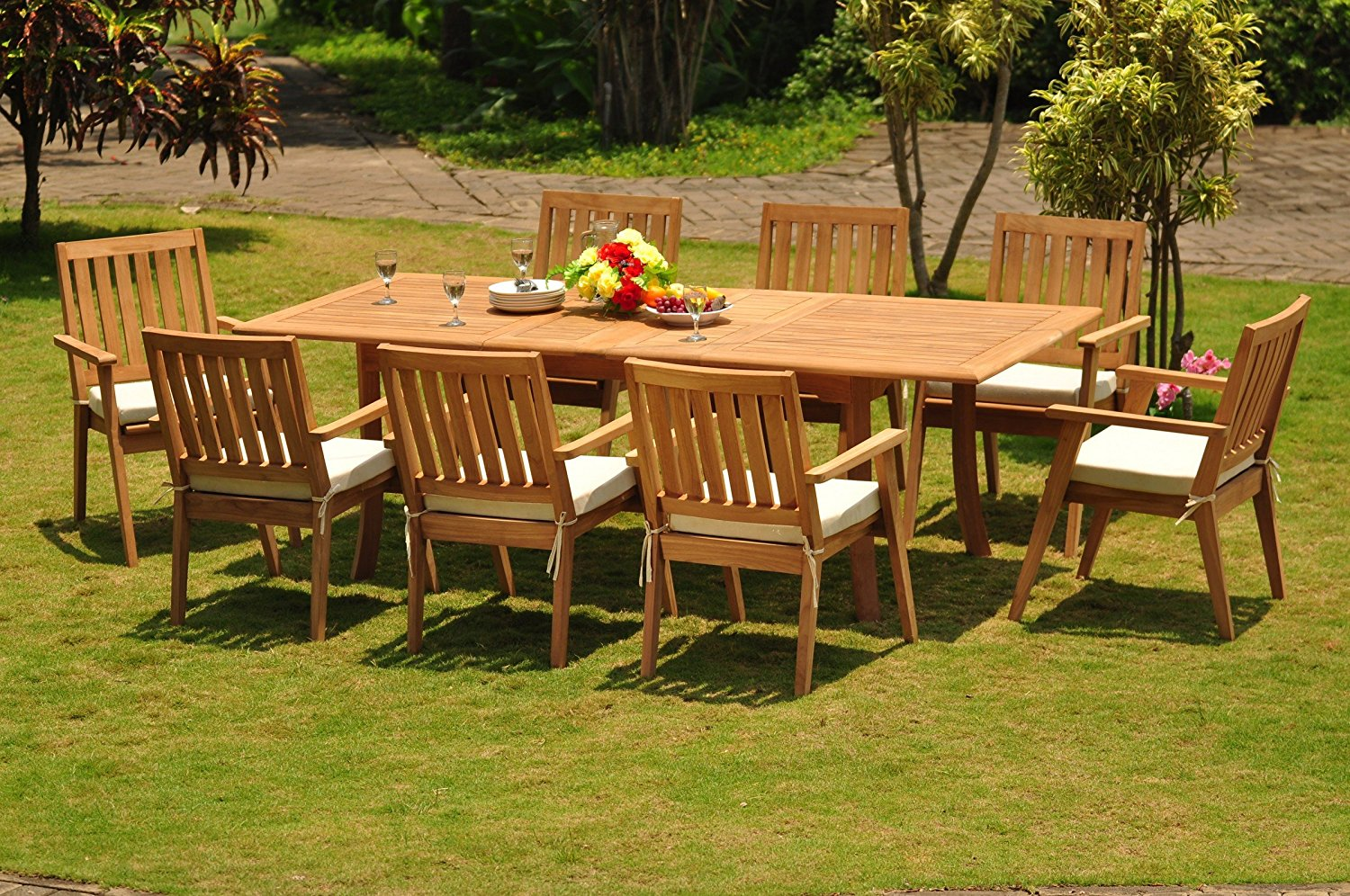 """Grade-A Teak Wood Dining Set 8 Seater 9 Pc: 94"""" Double Extension Dining Rectangle Table And 8 Palmer Stacking Arm / Captain Chairs #WFDSPMt"""
