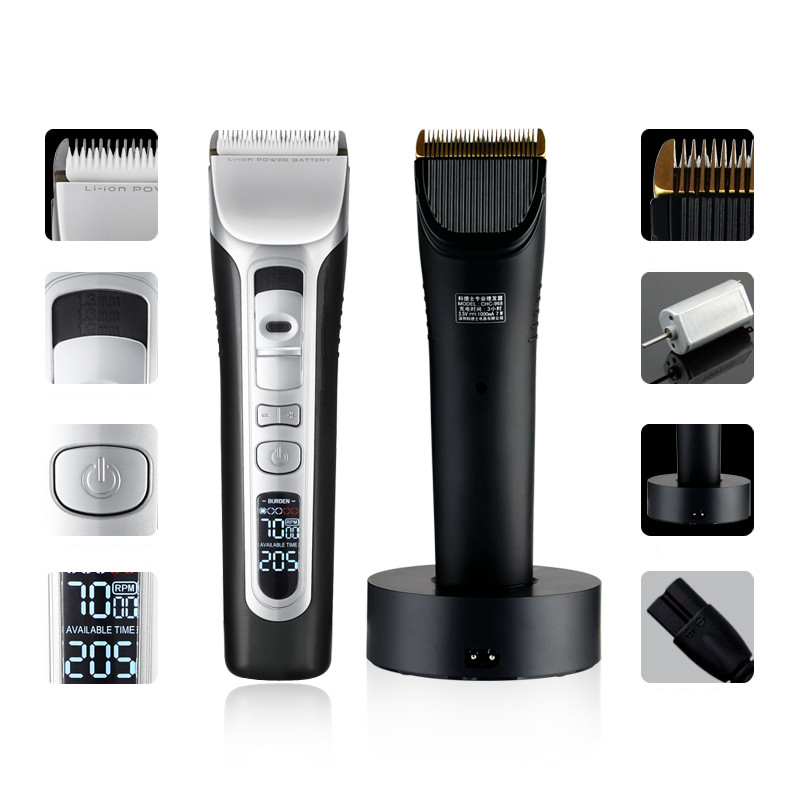 Hot Sell LCD Display Ceramic movable cutter head and titanium fixed cutter head Cordless Rechargeable Hair clippers