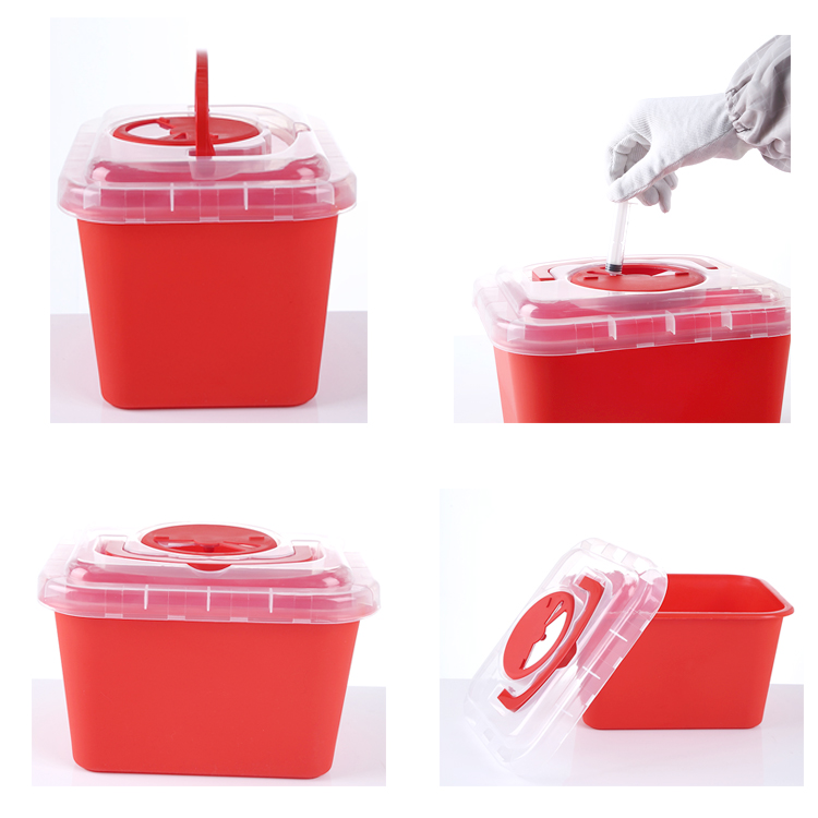 Approved Hospital Use Plastic 5l Medical Sharps Container,Needle Sharps Box Biohazard Waste Disposal Container/