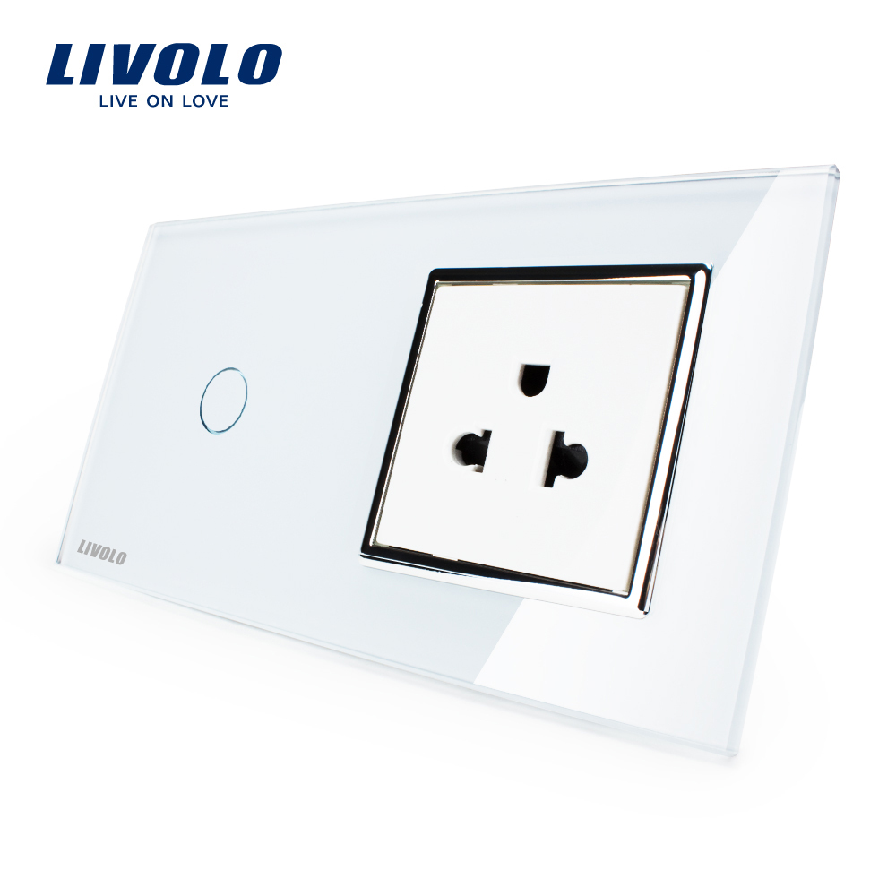 Livolo Touch Switch Amp Us Socket White Crystal Glass Panel