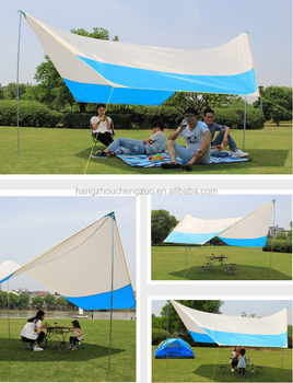 Hot Waterproof Sunshade Tarp With Pole 4 Person Tent Czx 161