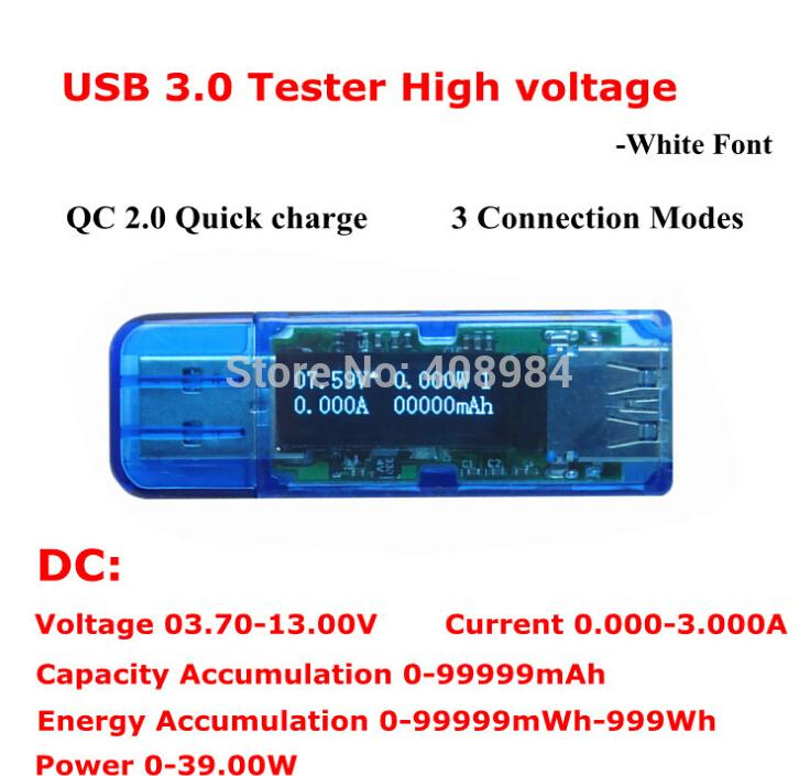 USB 3.0 QC 2.0 quick charge screen 4 bit OLED Digital USB Voltmeter Ammeter High Precision Detector Capacity Power Tester