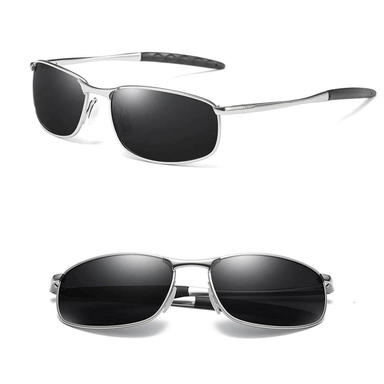 a4e3357682fdd Get Quotations · Rectangular Sunglasses For Men With Metal Frame Polarized  Retro Square Sunglasses Ultra Light