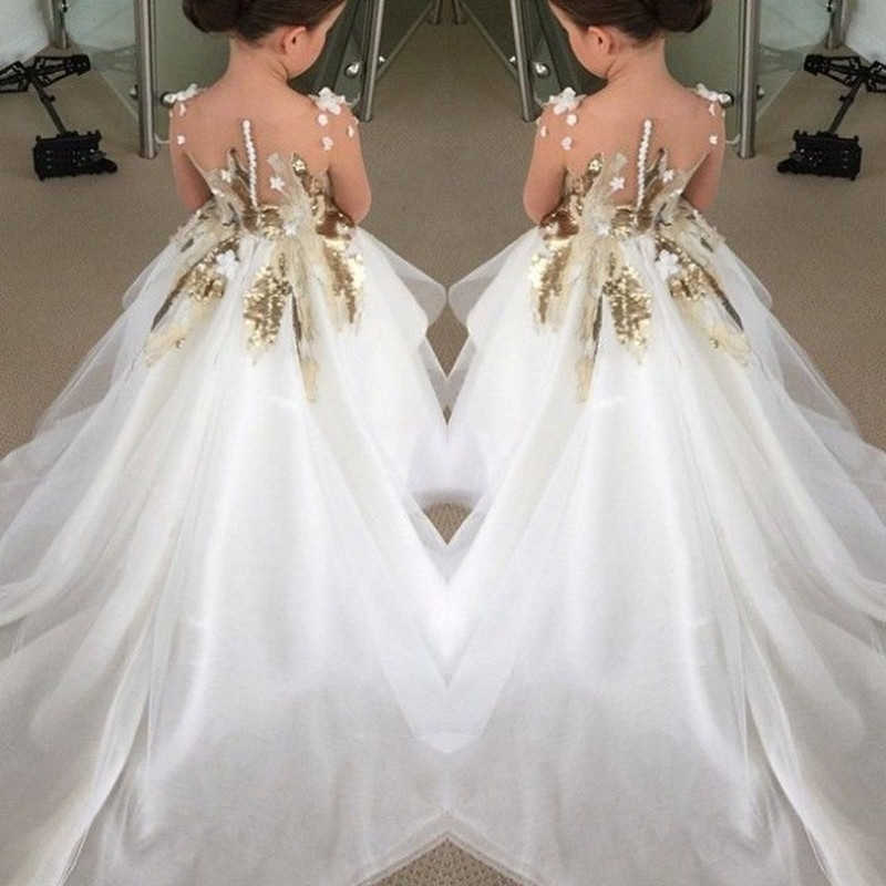 Gown For Flower Girl Wedding: 2016 Appliques Sequins Ball Gown Flower Girls Dresses For