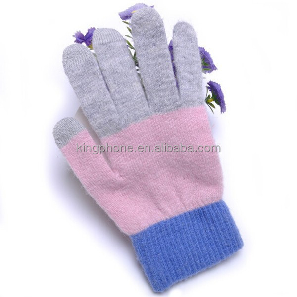 Three-color soft touch screen gloves,gloves for touch screen
