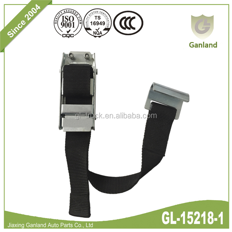 GL-15218-1 Curtain Side Trailer Buckle Assembly With Strap Flat Hook And Rivet