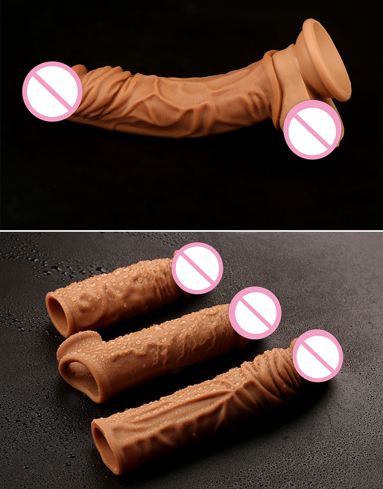 Silicone Cock Enlargement Dick Extender Condoms for Men Penis Sleeve
