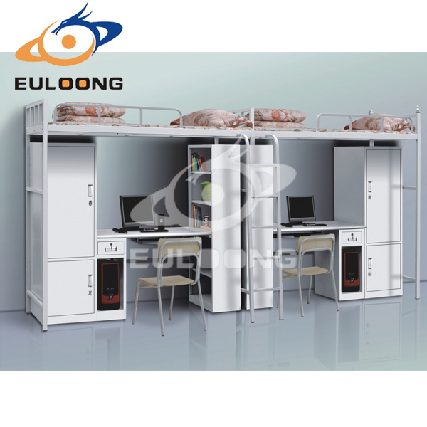Luoyang Euloong School dormitory steel bunk beds with clothes locker and learning table