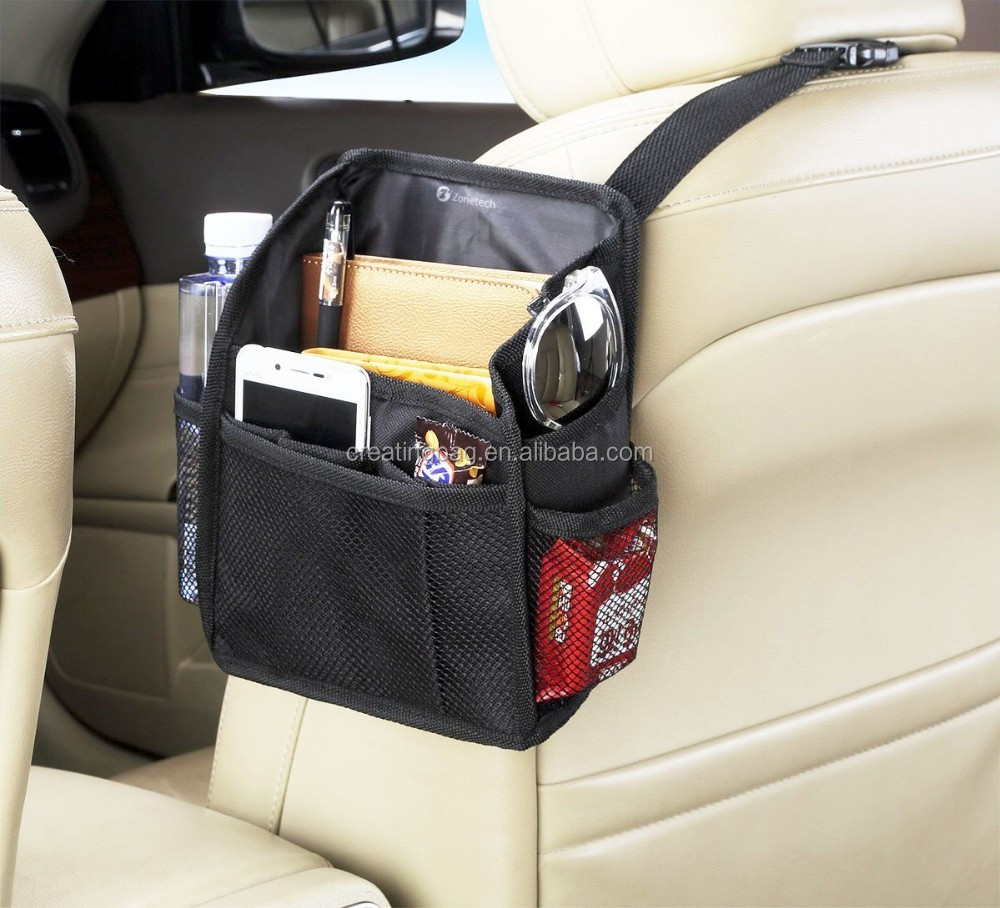 7Pocket Organizer Black Sturdy Rugged Pack Cloth Compact Car Back Seat Headrest Organizer Vehicle Item Storage Holder