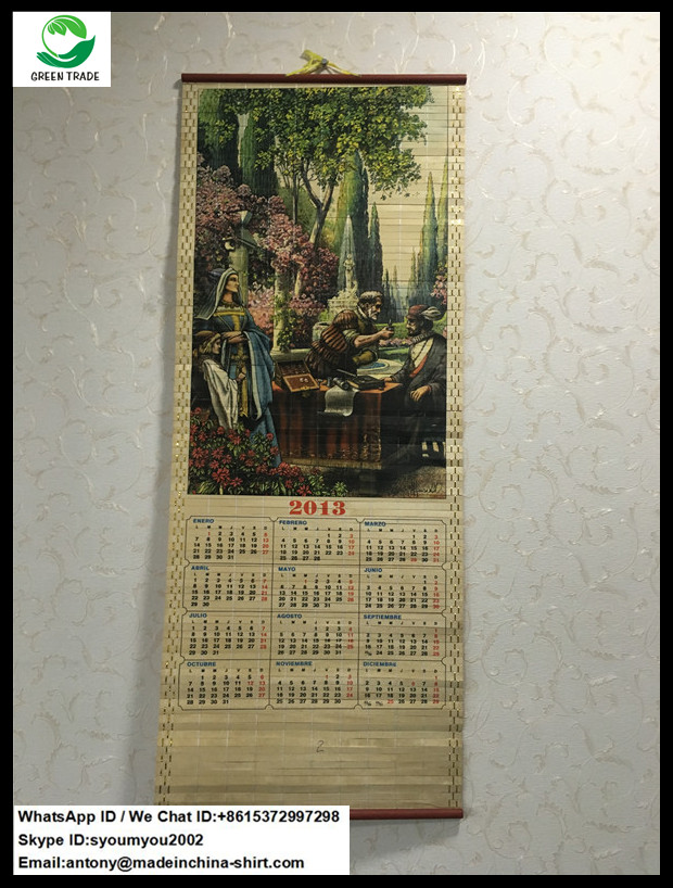 2013 Printed Wooden Wall Scroll Calendar for Glasses Company