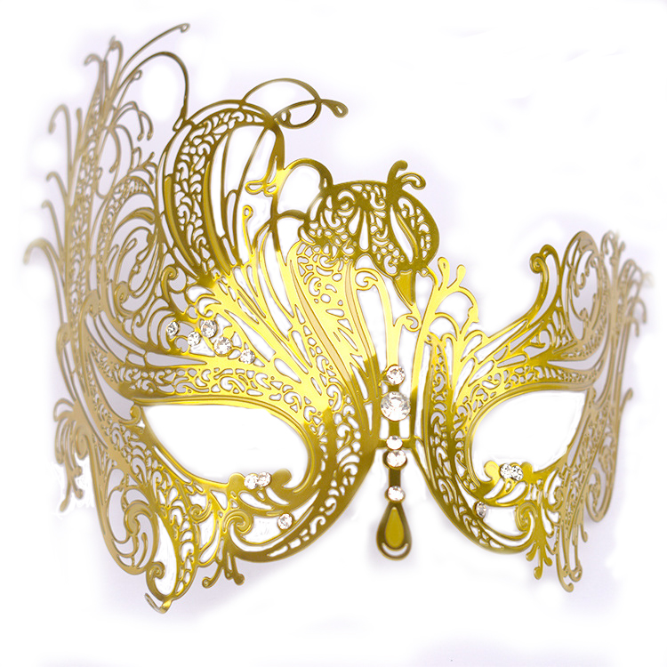 decorative masquerade party gold metal face mask