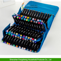 80 Slots large capacity portable marker pens PU leather wholesale pen case