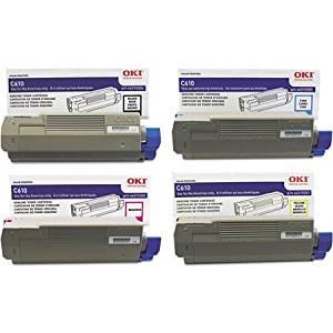 OKI Toner Set for C610 Series Printers. Full Set of 4 Genuine OKI Toner Cartridges. 44315301 Yellow, 44315302 Magenta, 44315303 Cyan, 44315304 Black. Type C15 - 6K Yield on colors, 8K Yield on Black