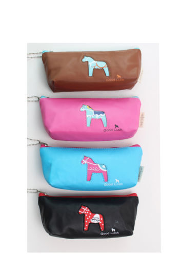 "# Multicolor Cute Makeup Bags Cartoon PU ""Good Luck"" School Cases Pencil Case Cosmetic Bags Horse Cellphone Pen Bag 7.5*4'' New"