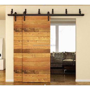 Carbon Steel Bypass Sliding Barn Wood Door Hardware Track Kit