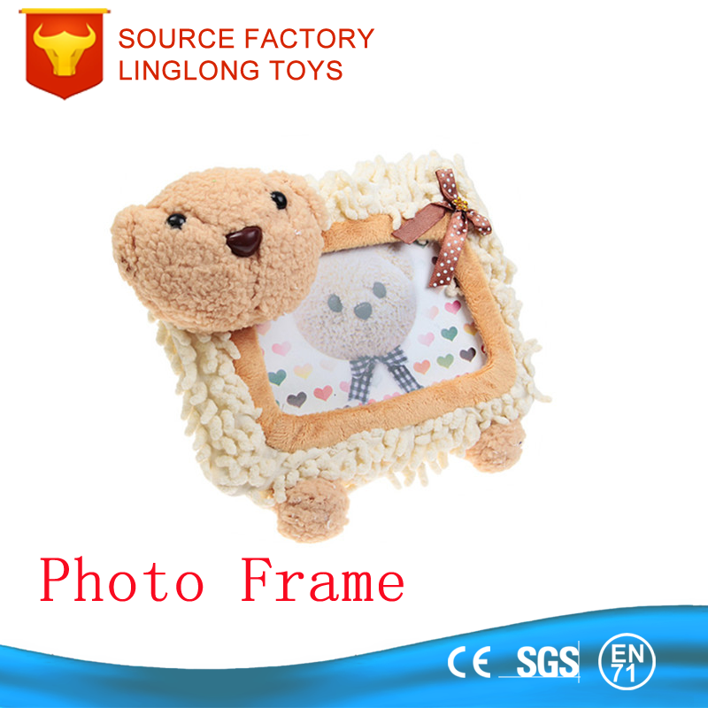 Hot Sale Plush Animal Cute White Bear Picture Frame Stuffed Toy Baby Photo Frame