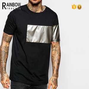 Leather Sleeve t-shirt Wholesale High Quality Men Black Pu Leather T Shirt
