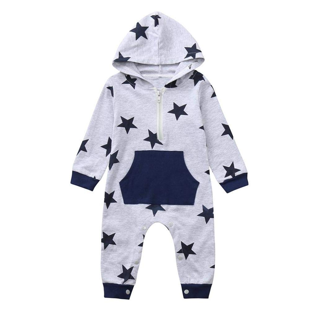 Newborn Autumn Plaid Star Jumpsuit,Jchen(TM) Infant Toddler Baby Boys Girls Long Sleeve Hoodie Pocket Zipper Romper Jumpsuit for 0-24 Months (Age: 0-6 Months, Gray)