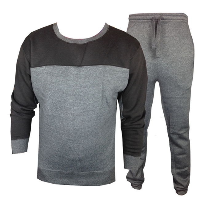 Custom Wholesale Latest Design Mens Crew Neck Fleece Plain Tracksuit