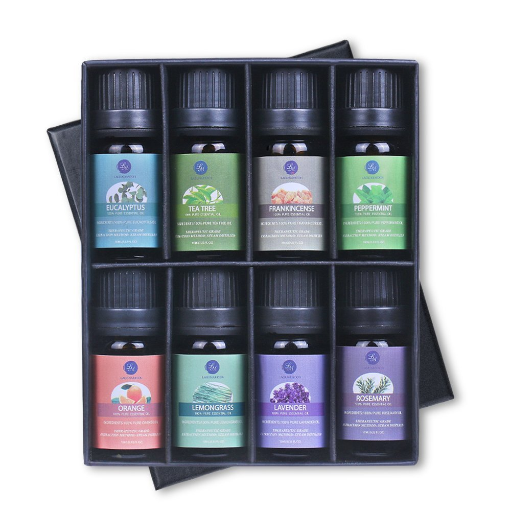 Lagunamoon Essential Oils,Top 8 Pure Natural Aromatherapy Oils Include Lavender Tea Tree Eucalyptus Lemongrass Frankincense Orange Rosemary Peppermint