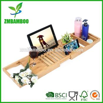 Luxury Bamboo Bathtub Caddy Tray With Extending Sides,Shower ...