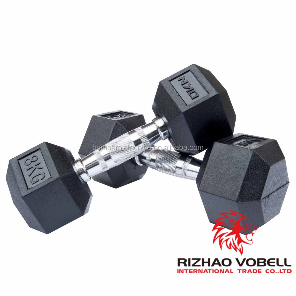 best quality chrome black rubber dumbbell for gym training