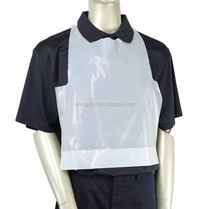Disposable Plain White Adult Poly Bibs