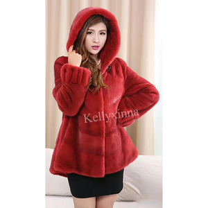 Wholesale Winter Chinese Red Women Mink Fur Jacket Whole Skin Mink Coat with Hood