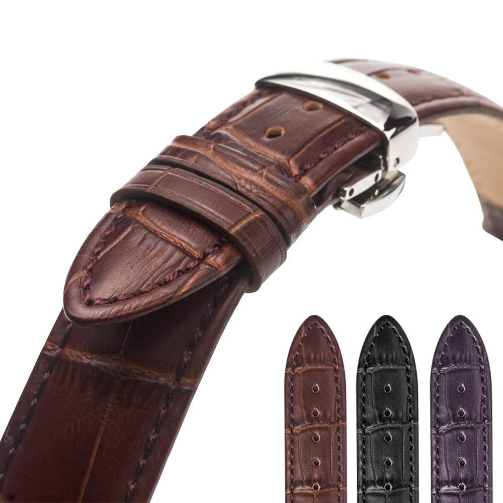 41559895d Double Folding Clasp Leather Wristband for Watch Band Replacement  (24mm,22mm,21mm,